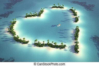 Aeriální pohled na ostrov ve tvaru srdce
