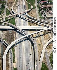 Aeriální výhled na dálnici