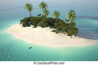 Aeriální výhled na ostrov Caribbel