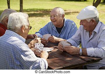 Aktivní starší, skupina starých přátel, hrajících karty v parku