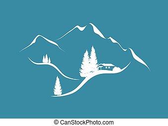 Alpinská horská síra s hut a fúry