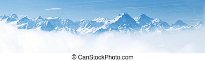 alpy, hora, sněit krajinomalba, panoráma