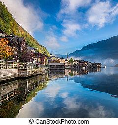 alpy, mlhavý, rozednívat se, jezero