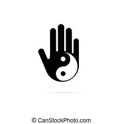 alternativa, pojem, číňan, wellness, jóga, yin, -, lék, vektor, ikona, emblém, rozjímání, zen, yang