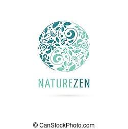 alternativa, pojem, číňan, wellness, zen, ikona, yin, -, bylinný, vektor, lék, emblém, rozjímání, yang