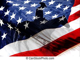 Americká vlajka s americkým kovbojem
