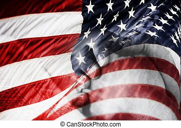 americký, prosit, prapor, ruce