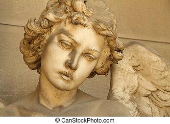 anděl, skulptura, čelit, -