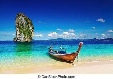 andaman, obrazný, moře, pláž, thajsko