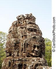 angkor, camb, architektura, chrám, sklízet, bayon, thom, khmer, siem