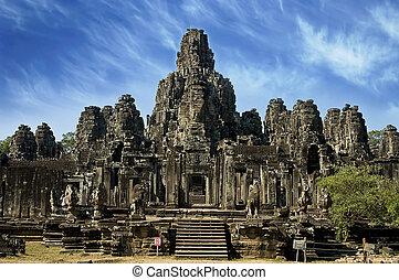 angkor, chrám, starobylý, wat, kambodža