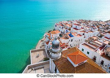 anténa, peniscola, castellon, vesnice, pláž, španělsko, názor