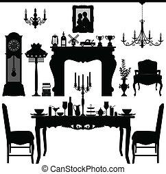 antický, hlučet, dávný, nábytek
