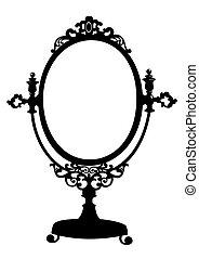 antický, makeup, silueta, zrcadlit se