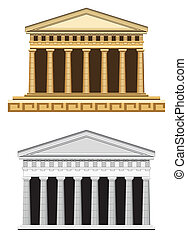 antický, průčelí, chrám