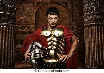 antický, voják, římský, na, stavení.
