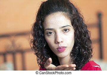 arab, odesílání, děvče, polibek