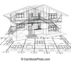 Architekturalský nákres domu. Vektor