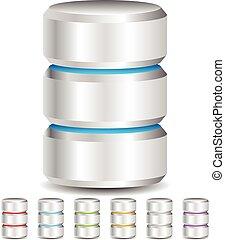 archiv, concepts., databáze, webhosting, kov, střediskový počítač, computer ikona, vektor, cylinder., cesta, krutý, kam vítr, tam plášť, disk, hdd, dat