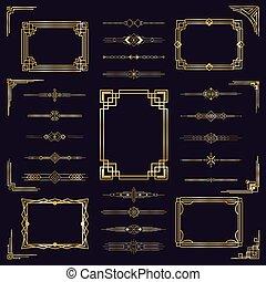 Art deco pohraniční rámy. Vintage arabský zlatý rám, moderní ozdobné ozdoby, izolační ikony