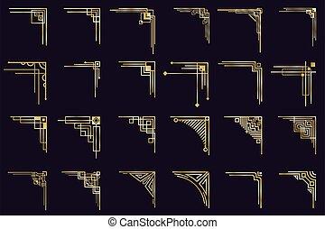 Art deco rohy. Vintage gold arabské hranice, dekorativní zlaté dělníci, starožitné, izolované rohy