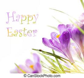 Art Easter s jarními květinami