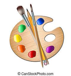 Art paleta s barvou na kreslení