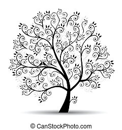 Art tree beautiful, black siluette