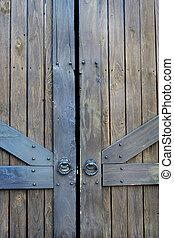 asie, dveře, dávný pisátko, dřevěný