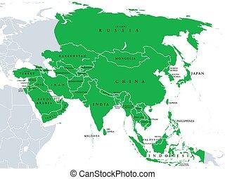 asie, světadíl, veřejný, široký, mapa, postavení, země