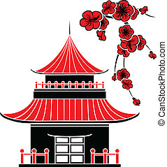 Asijský dům a třešňové květy