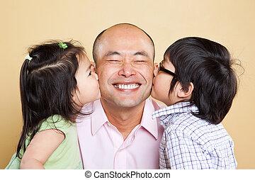Asijský otec a děti