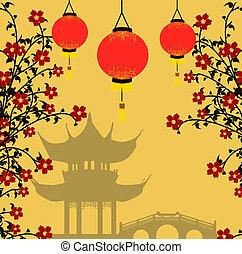 Asijský styl, vektorová ilustrace