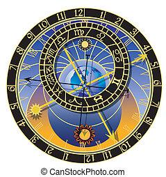 astronomický, vektor, -, hodiny