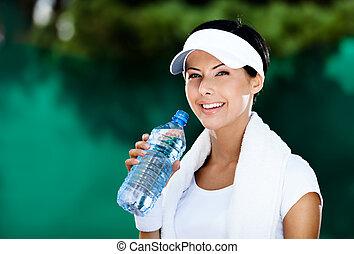 atletický, namočit, manželka, láhev