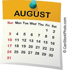 august., 2014, kalendář