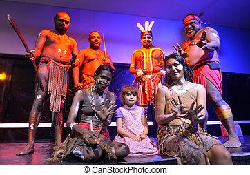 austrálie, národ, děvče, maličký, domorodec, vyfotografovat