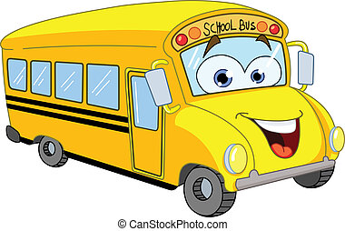 autobus, škola, karikatura