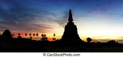 ayutthaya, dávný, siluate, pagoda, thajsko