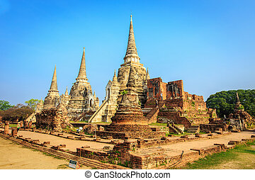 ayutthaya, sad, historický, wat, phrasisanpetch, ayutthaya