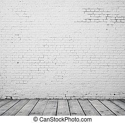 Bílá cihlová místnost