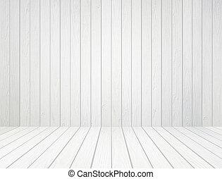 Bílá dřevěná stěna a dřevěná podlaha