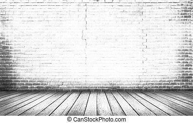 Bílé dřevěné patro s cihlovou stěnou