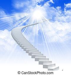 Bílý žebřík se roztahuje na oblohu