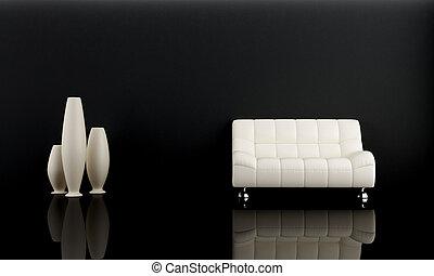 Bílý gauč v tmavém pokoji