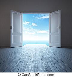 Bílý prázdný pokoj s otevřenými dveřmi