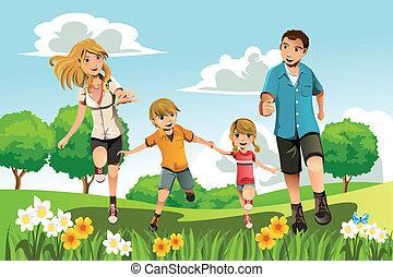 běh, sad, rodina