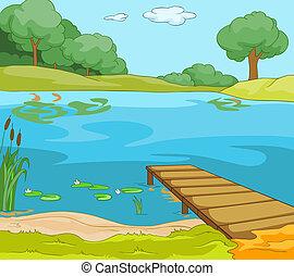 břeh, jezero