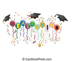 ballons, promoce, ilustrace, oslava
