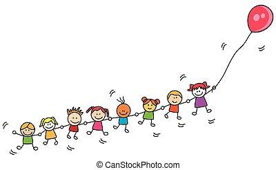 balloon, děti, hraní
